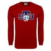 Cardinal Long Sleeve T Shirt-STU w/ Bobcat Head Distressed