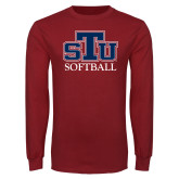 Cardinal Long Sleeve T Shirt-Softball