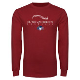 Cardinal Long Sleeve T Shirt-Baseball Seams Design
