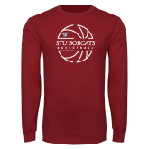 Cardinal Long Sleeve T Shirt-Basketball Ball Design
