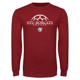 Cardinal Long Sleeve T Shirt-Soccer Half Ball Design