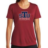 Ladies Syntrel Performance Cardinal Tee-Official Logo