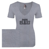 Next Level Ladies Vintage Heather Tri Blend V Neck Tee-STU Glitter