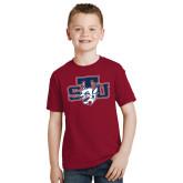 Youth Cardinal T Shirt-STU w/ Bobcat Head