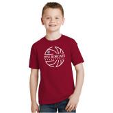 Youth Cardinal T Shirt-Basketball Ball Design