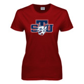 Ladies Cardinal T Shirt-STU w/ Bobcat Head