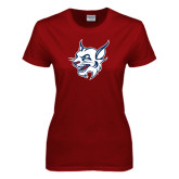 Ladies Cardinal T Shirt-Bobcat Head