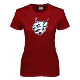 Ladies Cardinal T Shirt-Bobcat Head