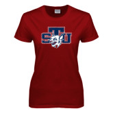Ladies Cardinal T Shirt-STU w/ Bobcat Head Distressed