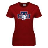 Ladies Cardinal T Shirt-STU w/ Bobcat Head Distressed