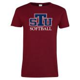 Ladies Cardinal T Shirt-Softball