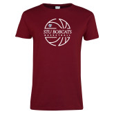 Ladies Cardinal T Shirt-Basketball Ball Design