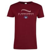 Ladies Cardinal T Shirt-Baseball Seams Design