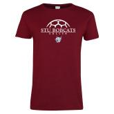 Ladies Cardinal T Shirt-Soccer Half Ball Design