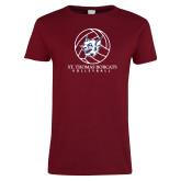 Ladies Cardinal T Shirt-Volleyball Ball Design