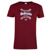 Ladies Cardinal T Shirt-Softball Seams Designs