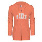 ENZA Ladies Coral Light Weight Fleece Full Zip Hoodie-STU Glitter