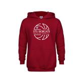 Youth Cardinal Fleece Hoodie-Basketball Ball Design