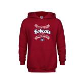 Youth Cardinal Fleece Hoodie-Softball Seams Designs