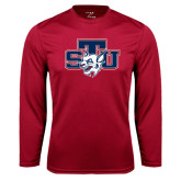Performance Cardinal Longsleeve Shirt-STU w/ Bobcat Head