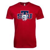 Next Level SoftStyle Cardinal T Shirt-STU w/ Bobcat Head