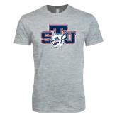 Next Level SoftStyle Heather Grey T Shirt-STU w/ Bobcat Head