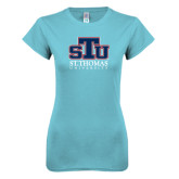 Next Level Ladies SoftStyle Junior Fitted Ice Blue Tee-Official Logo