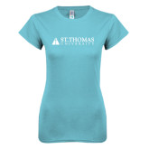 Next Level Ladies SoftStyle Junior Fitted Ice Blue Tee-University Mark