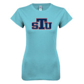 Next Level Ladies SoftStyle Junior Fitted Ice Blue Tee-STU