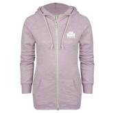 ENZA Ladies Hot Violet Marled Full Zip Hoodie-Official Logo