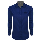 Ladies Navy Twill Button Down Long Sleeve-STU Tone