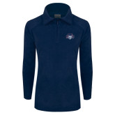 Columbia Ladies Half Zip Navy Fleece Jacket-STU w/ Bobcat Head