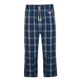 Navy/White Flannel Pajama Pant-STU w/ Bobcat Head