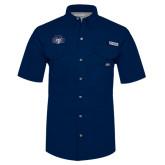 Columbia Bonehead Navy Short Sleeve Shirt-STU w/ Bobcat Head
