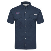 Columbia Tamiami Performance Navy Short Sleeve Shirt-STU w/ Bobcat Head