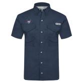 Columbia Tamiami Performance Navy Short Sleeve Shirt-STU w/ Bobcat Head