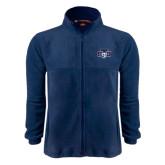 Fleece Full Zip Navy Jacket-STU w/ Bobcat Head