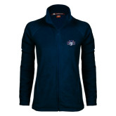 Ladies Fleece Full Zip Navy Jacket-STU w/ Bobcat Head