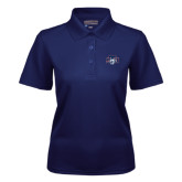 Ladies Navy Dry Mesh Polo-STU w/ Bobcat Head