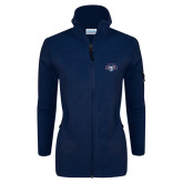 Columbia Ladies Full Zip Navy Fleece Jacket-STU w/ Bobcat Head