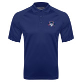 Navy Textured Saddle Shoulder Polo-STU w/ Bobcat Head