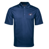 Navy Mini Stripe Polo-STU w/ Bobcat Head