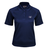 Ladies Navy Textured Saddle Shoulder Polo-STU w/ Bobcat Head