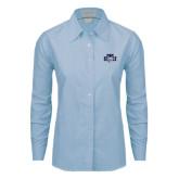 Ladies Light Blue Oxford Shirt-STU w/ Bobcat Head