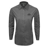 Ladies Grey Tonal Pattern Long Sleeve Shirt-STU Tone