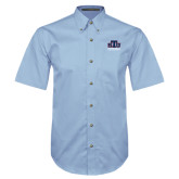 Light Blue Twill Button Down Short Sleeve-Official Logo