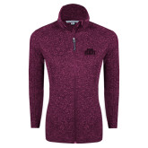 Dark Pink Heather Ladies Fleece Jacket-STU Tone