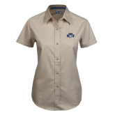 Ladies Khaki Twill Button Up Short Sleeve-STU w/ Bobcat Head