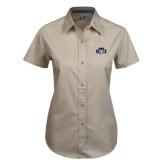 Ladies Khaki Twill Button Up Short Sleeve-STU w/ Bobcat Head
