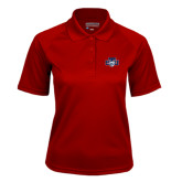 Ladies Cardinal Textured Saddle Shoulder Polo-STU w/ Bobcat Head